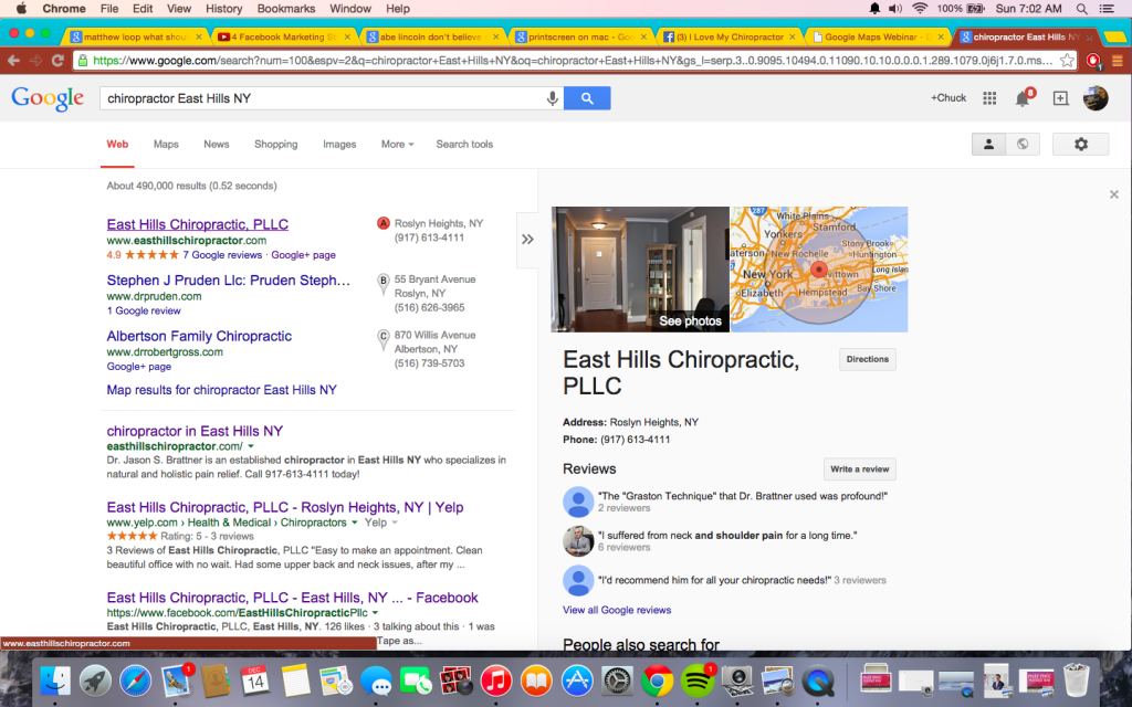 free exposure in google maps for your chiropractic office